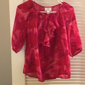 Tops - Loft red/pink floral blouse